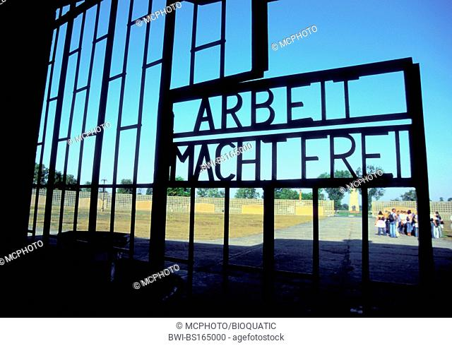 'Arbeit macht frei' says the main gate to the concentration camp Sachsenhausen, Germany, Sachsenhausen