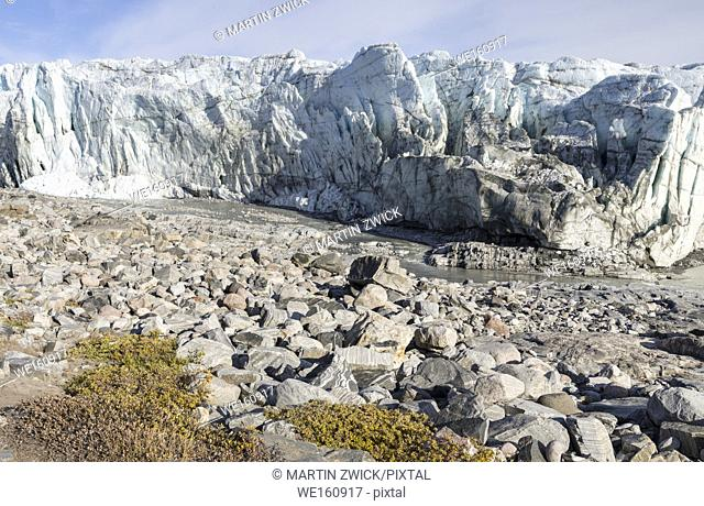 Terminus of the Russell Glacier. Landscape close to the Greenland Ice Sheet near Kangerlussuaq. America, North America, Greenland, Denmark
