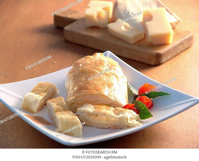 Flaky puff pastry envelopes with blue cheese