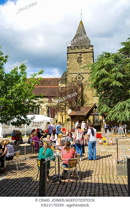 People at the Madhurst Festival in the Market Square, Midhurst, England