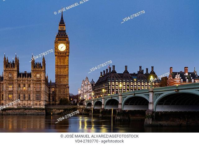 Big Ben, Palace of Westminster, Westminster bridge and thames river. London, United Kingdom