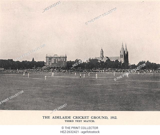 The Adelaide Cricket Ground, Third Test Match between Australia and England, 1912. Artist: Charles Alfred Petts