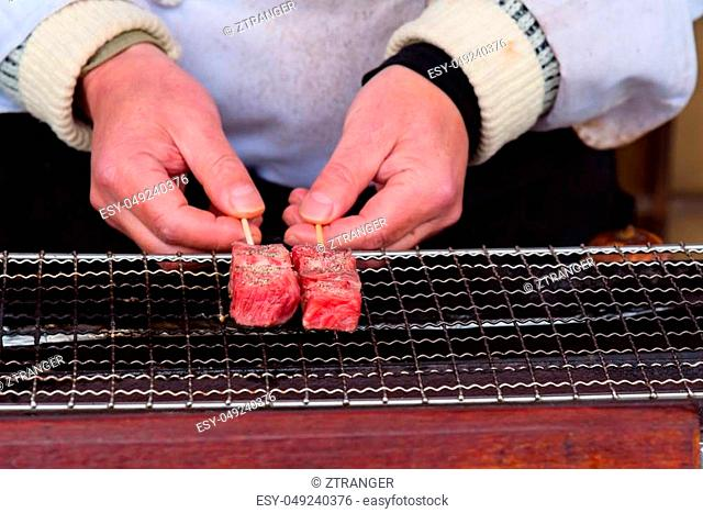 Close up of japan A5 beef called Hida wagyu grilled on the oven in takayama Gifu Japan