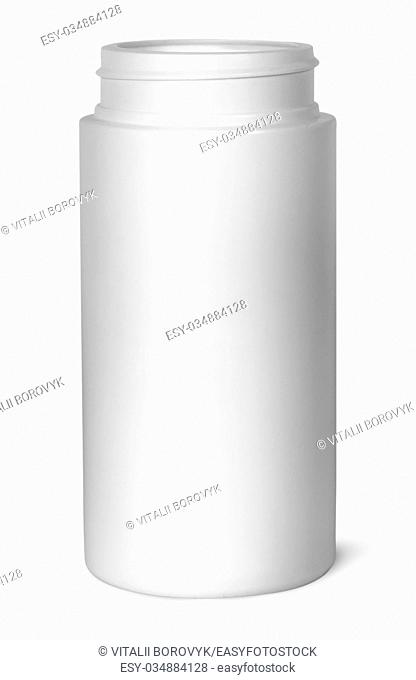 White plastic bottle for vitamins without lid isolated on white background