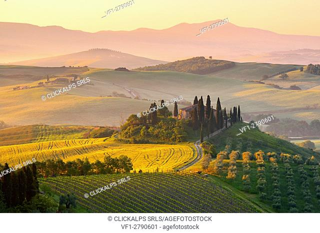 Europe. Italy. Tuscany. Siena District. Orcia Valley. Belvedere farmhouse at sunrise