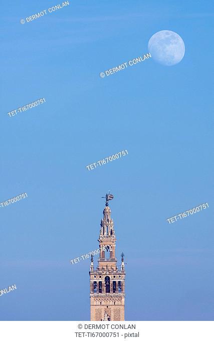 Spain, Seville, Moonrise over Giralda tower at dusk