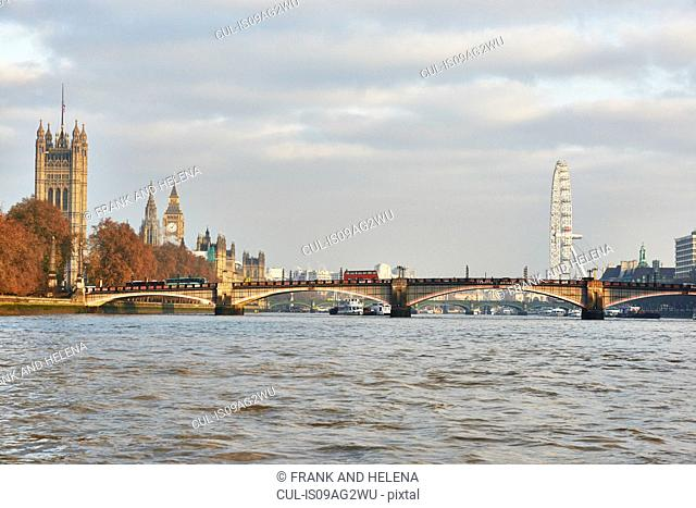 View of Lambeth Bridge and Houses of Parliament on the Thames, London, UK