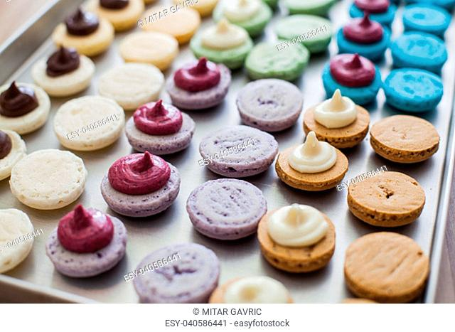 Sweet and tasty french dessert macarons
