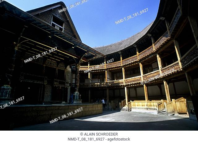 Building in a courtyard, Shakespeare's Globe Theatre, Bankside, Southwark, London, England