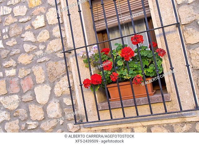 Old Window,Typical Architecture, Pedraza de la Sierra, Mediaeval Village, Segovia, Castilla y León, Spain, Europe