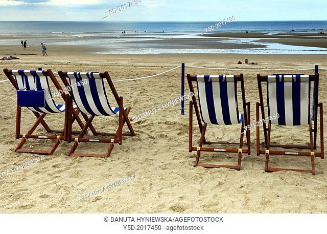 sandy beach, Atlantic Ocean, Cabourg, Calvados, Basse Normandie, Normandy, France
