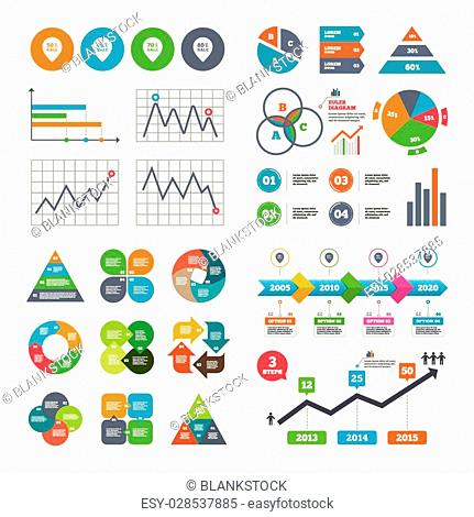 Business data pie charts graphs. Sale pointer tag icons. Discount special offer symbols. 50%, 60%, 70% and 80% percent sale signs