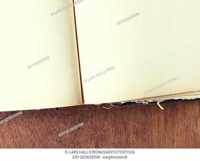 Extreme close up of old vintage book with blank page. Antique literature. White paper page with copy space