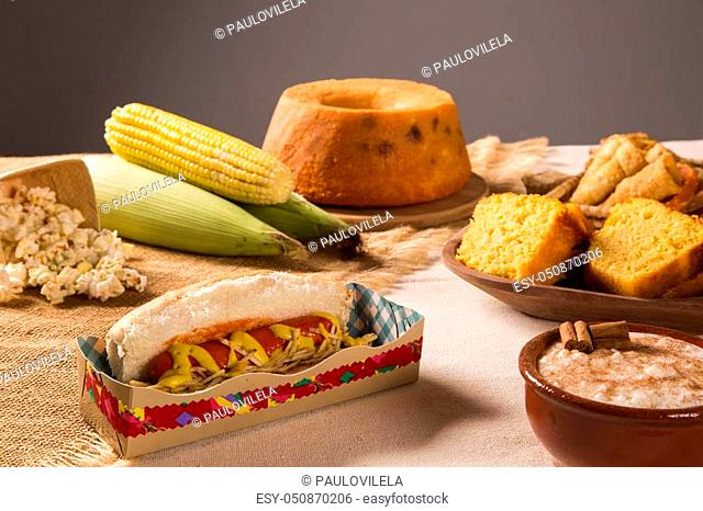 Hot dog. Table of brazilian festa junina