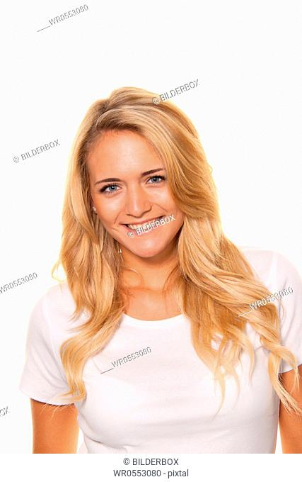 Young nice woman.Cheerful smile.Portrait on a white background