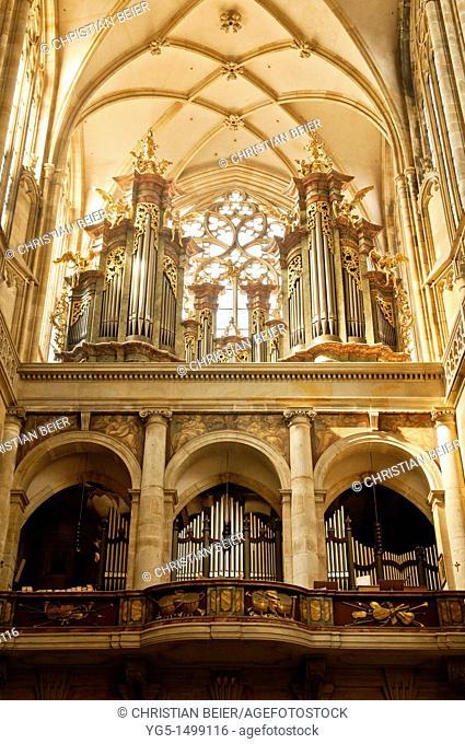 Organ, Interior St Vitus Cathedral, Prague Castle, Hradcany