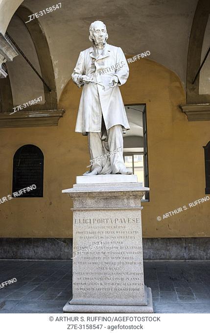 Statue of Luigi Porta Pavese (Italian surgeon). Courtyard, University of Pavia. Pavia, Lombardy, Italy, Europe