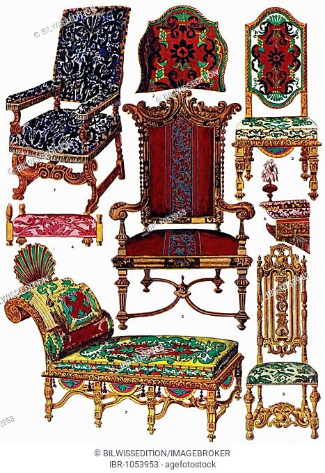 Historic illustration, English ornaments, upholstery of the High and Late Renaissance, Shaw, Specimens of ancient furniture