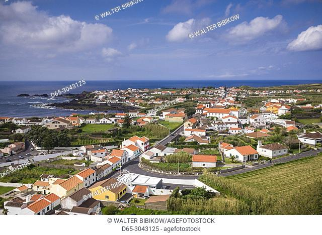 Portugal, Azores, Sao Miguel Island, Mosteiros, elevated town view