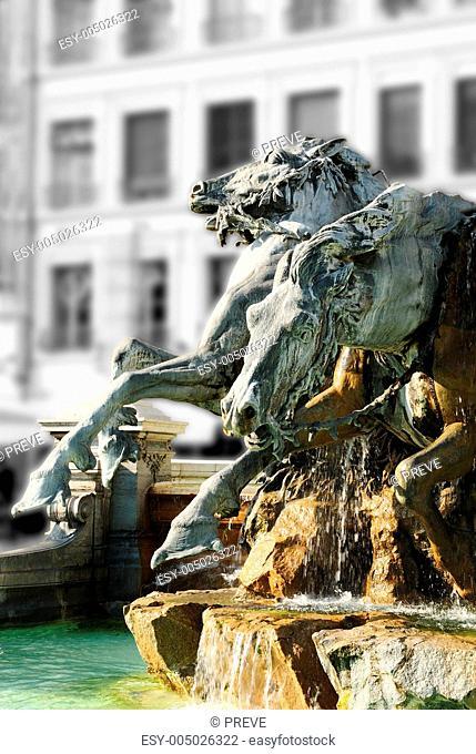 Frozen fountain in Lyon france