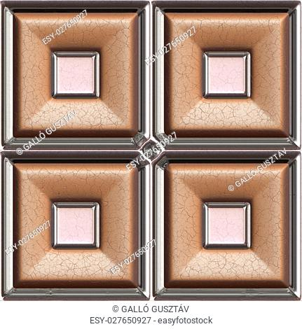 Brown leather and glass 3d seamless tile pattern background