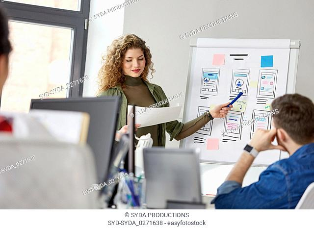 creative woman showing user interface at office