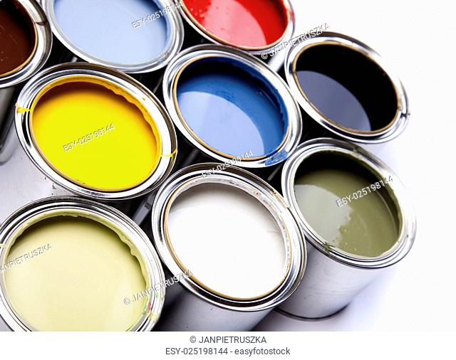 Paint and cans, bright colorful tone concept