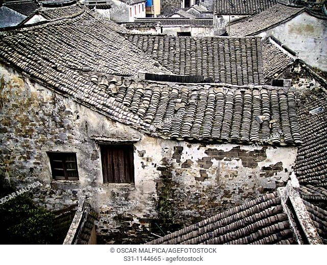 house roofs at zhouzhuang ancient water town in china