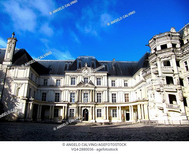 Inside yard of the Chateau de Blois, Loire et Cher, Pays de la Loire, Loire Valley , UNESCO World Heritage Site, France.