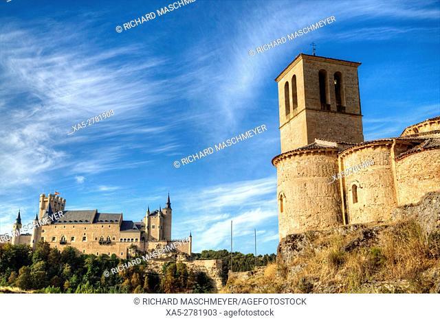 La Vera Cruz Church (right), Alcazar (background), Segovia. UNESCO World Heritage Site, Segovia, Spain
