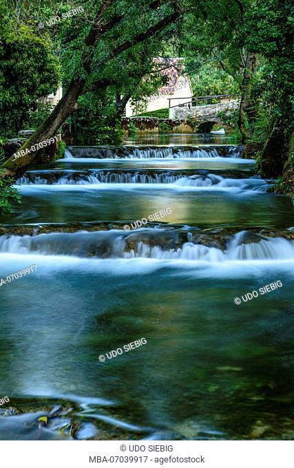 Croatia, Dalmatia, region of Sibenik, Krka National Park, Lozovac, Skradinski buk, water mill canal