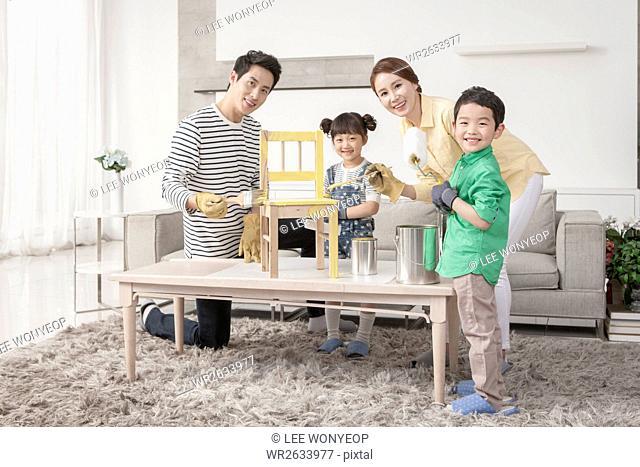 Harmonious family with tools