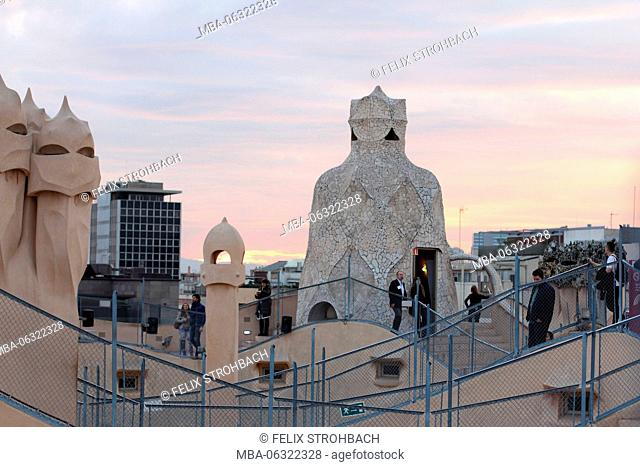 On the roof of La Pedrera at dusk