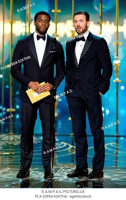 Chadwick Boseman and Chris Evans present during the live ABC Telecast of The 88th Oscars® at the Dolby® Theatre in Hollywood, CA on Sunday, February 28, 2016