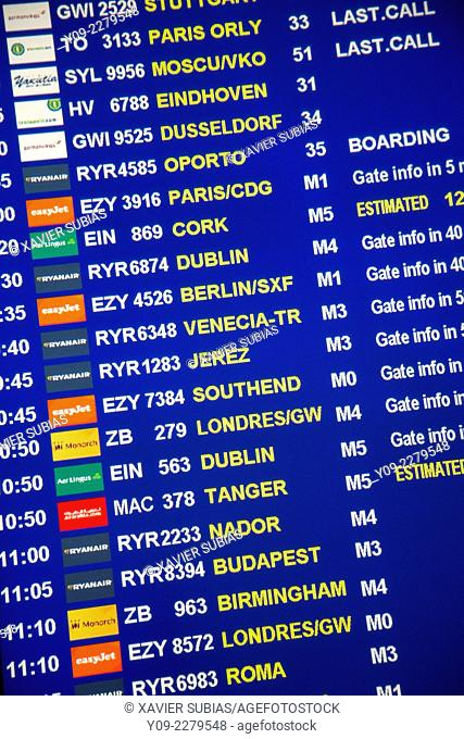 Fligths in de time table airport