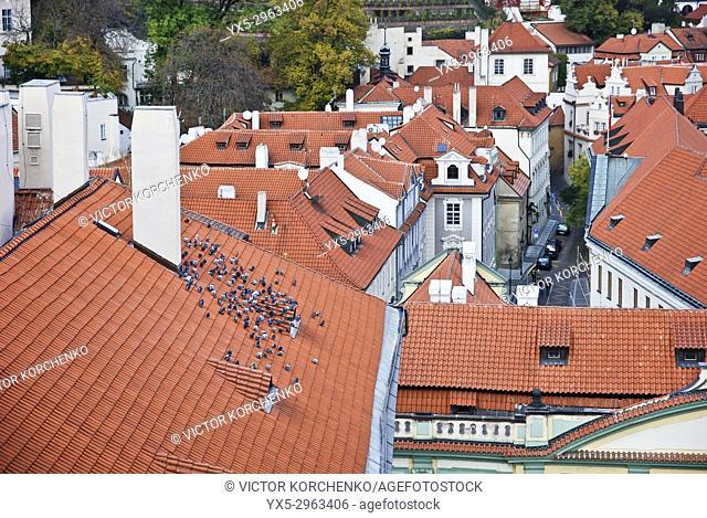 Prague Mala Strana rooftops. Czech Republic