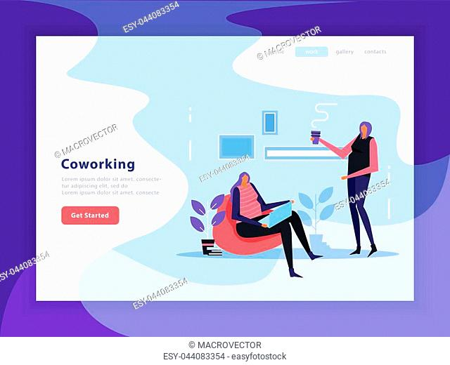 Coworking landing page with interface elements of web site, female creative team flat vector illustration
