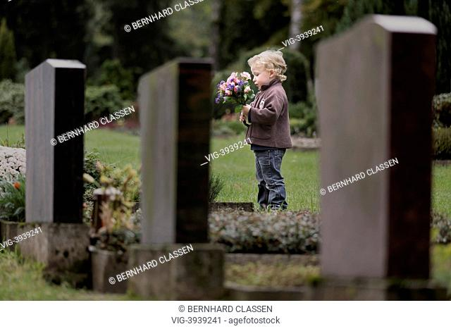 GERMANY, WRIEDEL, Boy, 3 years, with flowers at a grave - WriedelGermany, 16/10/2013