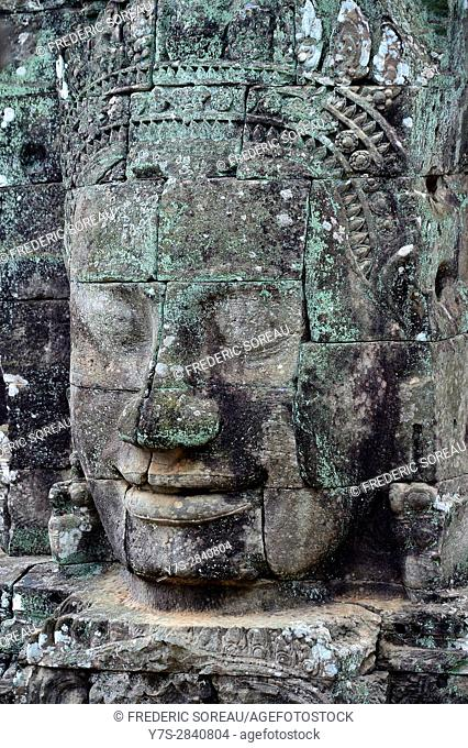 Carved stone head at Bayon temple,Angkor Wat,Cambodia,Indochina,Southeast Asia,Asia