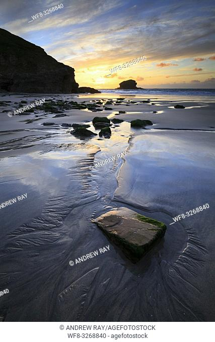 Portreath Beach on the North Coast of Cornwall, captured when sunset coincided with low tide in late May