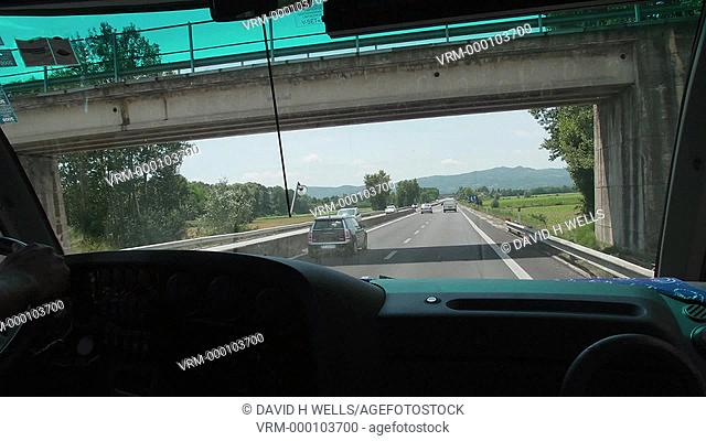 Time-lapse animation of view from inside vehicles on the road in area near Perugia, Italy