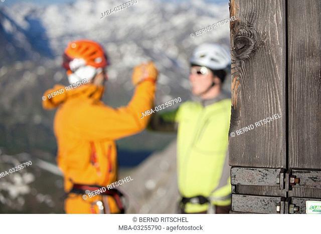 via ferrata route scene Arlberger via ferrata route, destination, summit, Weisschrofenspitze, Lechtal Alps, Tyrol, Austria