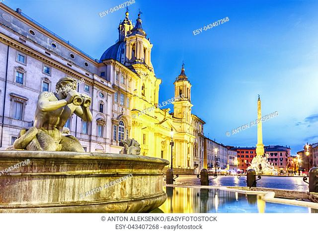 Piazza Navona and the Moor fountain, Rome, Italy, twilight view, no people