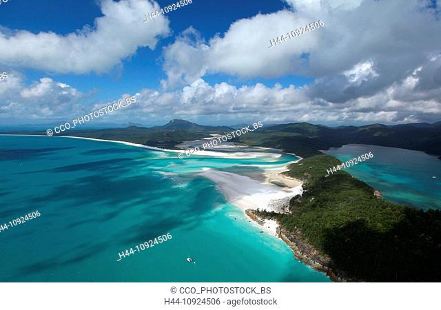 Hill Inlet, estuary, low, ebb, tide, sand bank, snow-white, Whitehaven Beach, seashore, sand, dream beach, Whitsunday Island, main island, unoccupied, nature