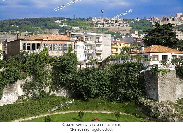 Turkey, Trabzon, Ortahisar, Landscaped garden near old city walls