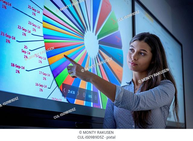 Female apprentice studying graphical screen display in railway engineering facility