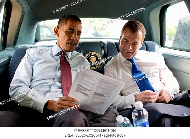 President Obama and Russian President Dmitry Medvedev look at the menu en route to Ray's Hell Burger where they had burgers for lunch. June 24 2010