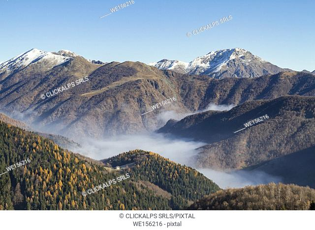 View of Sessera Valley from Bielmonte (Bielmonte, Veglio, Biella province, Piedmont, Italy, Europe)