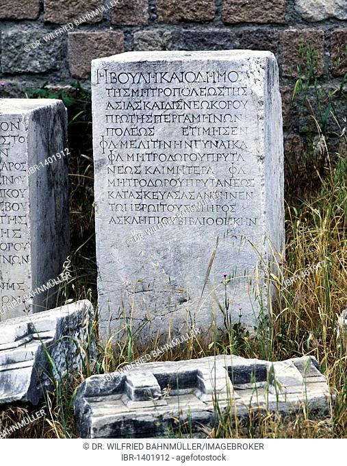 Stone in Greek script, Pergamon, Bergama Turkey, Asia