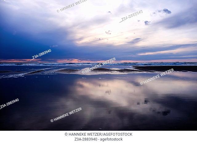 Sunset at the beach of Scheveningen, The Hague, The Netherlands, Europe